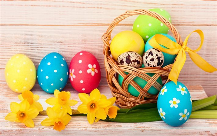 Easter, basket, Easter eggs, yellow flowers, spring