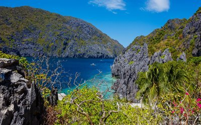Palawan, Island, bay, summer, sea, rocks, Philippines