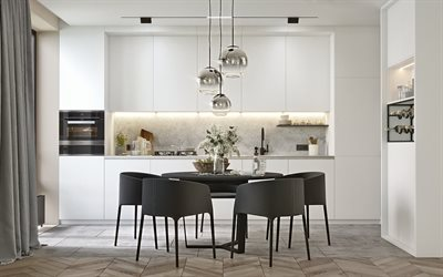 stylish kitchen interior, gray furniture, light gray kitchen, glass balls lamp, modern design interior, dining room, kitchen