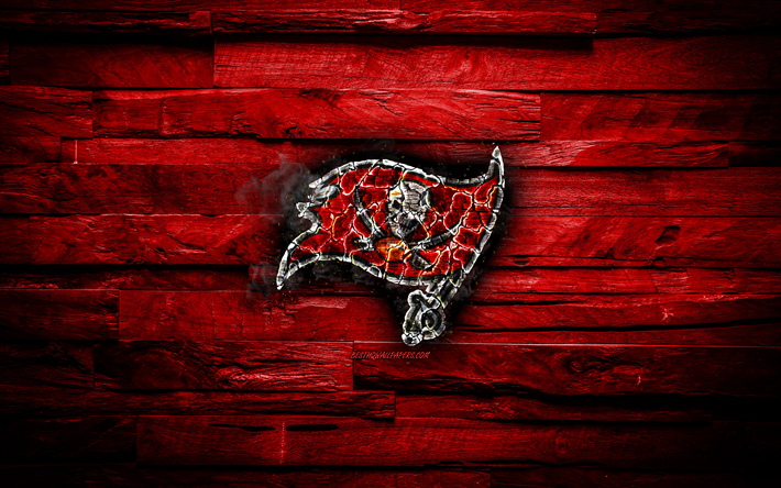 Download Wallpapers Tampa Bay Buccaneers 4k Scorched Logo Nfl Red Wooden Background American Baseball Team National Football Conference Grunge Baseball Tampa Bay Buccaneers Logo Fire Texture Usa Nfc For Desktop Free Pictures
