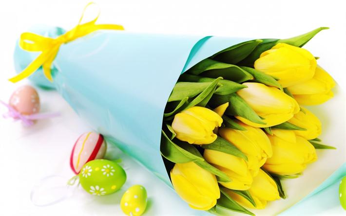 Fiori Gialli Bellissimi.Scarica Sfondi Bouquet Di Tulipani Gialli Bellissimi Fiori Gialli