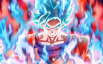 Goku, protagonist, blue flame, manga, Dragon Ball Super
