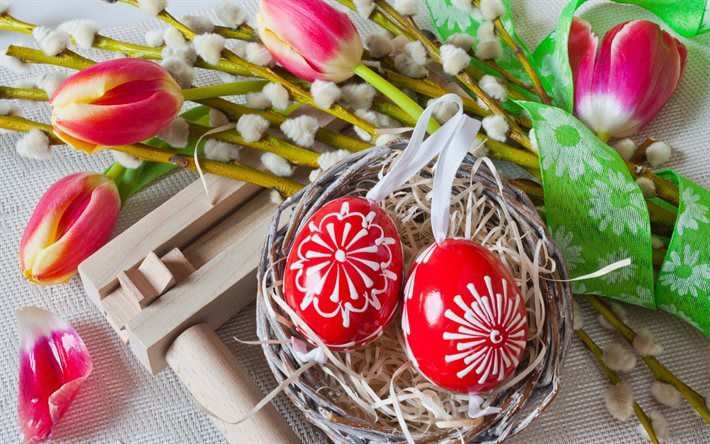 Easter, spring, tulips, basket, easter eggs, Happy Easter