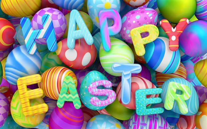 Happy Easter, Spring, 3d Easter eggs, spring holidays