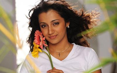 Trisha Krishnan, 4k, Bollywood, indian actress, brunette, beauty
