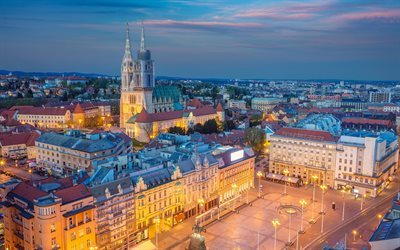 Zagreb, Catholic Cathedral, evening, Zagreb Cathedral, Croatia