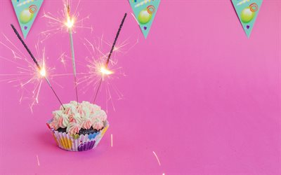 Happy Birthday, Bengal lights, cake, birthday cake, cupcake, cake on a pink background