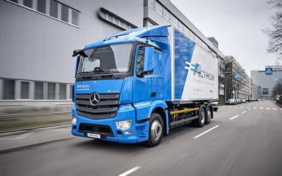 Mercedes-Benz eActros, 2018, electric truck, front view, cargo transportation, delivery, LKW, German trucks, Mercedes
