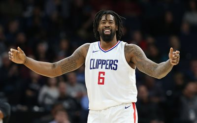 DeAndre Jordan, Los Angeles Clippers, basket-ball, 4k, le portrait, le joueur de basket Américain, la National Basketball Association, la NBA