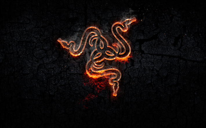 Razer, fire logo, creative, Razer logo, fire flame, art