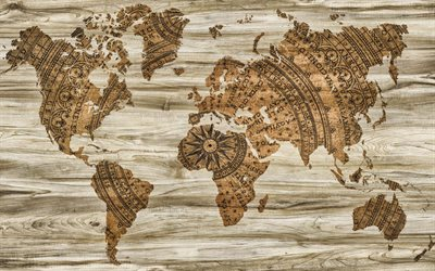 retro world map, old map, world map concept, art, creative, wooden background, world maps, world map