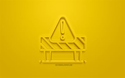 Caution 3d icon, yellow background, 3d symbols, Caution, creative 3d art, 3d icons, warning signs