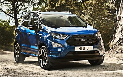 Ford EcoSport, 2018, blue compact crossover, new blue EcoSport, american crossovers, Ford