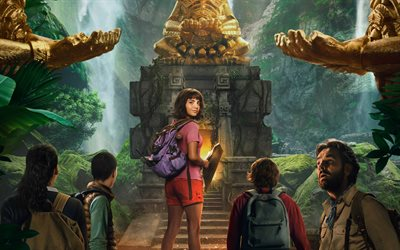 Dora and the Lost City of Gold, 2019, 4k, poster, promotional materials, characters, Isabela Moner, Eugenio Derbez