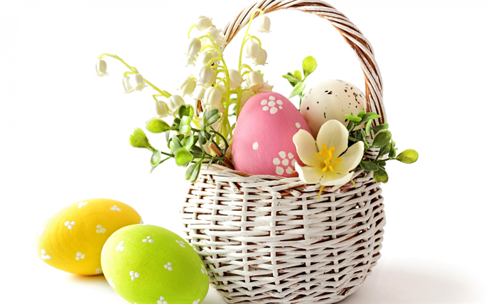 Easter eggs, white basket, white background, Easter, spring, Painted eggs, white spring flowers