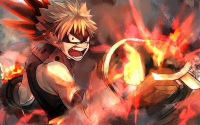 Katsuki Bakugou, fire flames, Boku no Hero Academia, warrior, battle, manga, My Hero Academia, artwork