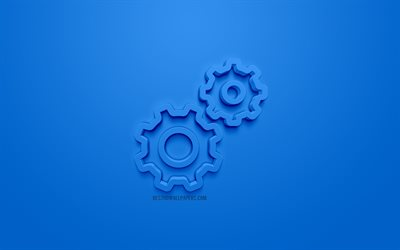 Gear wheels 3d icon, blue background, 3d symbols, Gear wheels, creative 3d art, 3d icons, warning signs cogwheel 3d icon, constructor