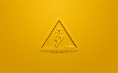 High Voltage 3d icon, yellow background, 3d symbols, High Voltage, creative 3d art, 3d icons, High Voltage sign, warning signs