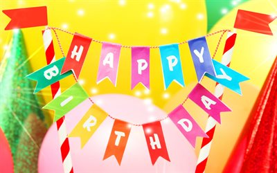Happy Birthday, bright multi-colored ribbons, greeting card, birthday concepts, birthday cake