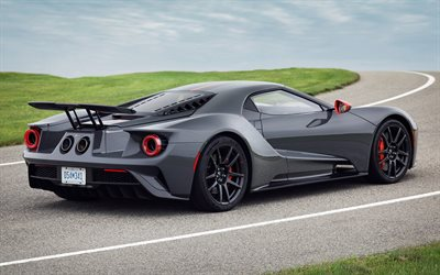 Ford GT, Carbon Series, 2019, rear view, luxury supercar, tuning, new gray Ford GT, American sports cars, Ford