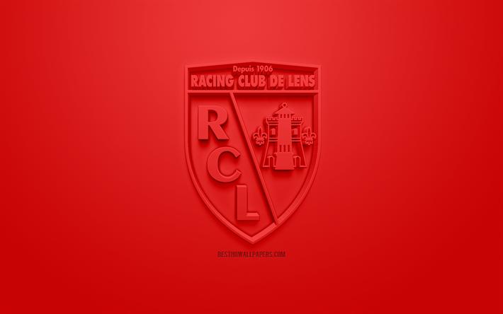 Download Wallpapers Rc Lens Creative 3d Logo Red Background 3d Emblem French Football Club Ligue 2 Lens France 3d Art Football Stylish 3d Logo For Desktop Free Pictures For Desktop Free