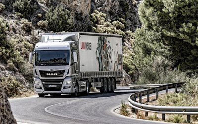 2019, Man TGX, truck with a trailer, truck on the highway, new white TGX, trucking concepts, cargo delivery concepts