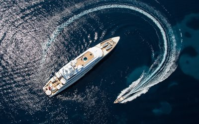 luxury white yacht, aerial view, sea, waves, boat, large yacht, summer travel, travel concepts