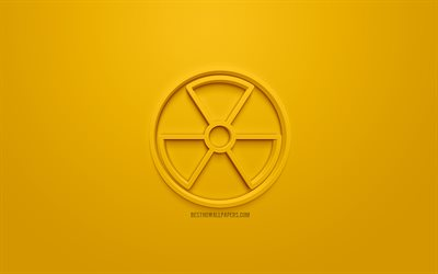 Radioactive Sign, Hazard symbol, Nuclear 3d icon, Radiation Warning Sign, yellow background, 3d symbols, Nuclear, creative 3d art, 3d icons, Nuclear sign, warning signs