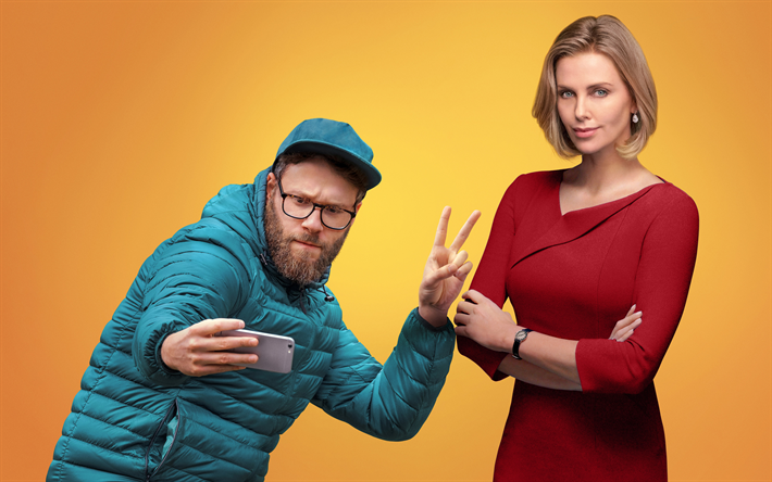 Long Shot, Fred Flarsky, Charlotte Field, 4k, 2019 movie, Charlize Theron, Seth Rogen