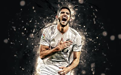Goncalo Guedes, goal, Valencia CF, La Liga, portuguese footballers, Midfielder, football, neon lights, Goncalo Manuel Ganchinho Guedes, soccer, Valencia FC, LaLiga