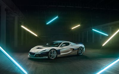 Rimac C-Two, 2019, electric supercar, front view, sports cars, Rimac