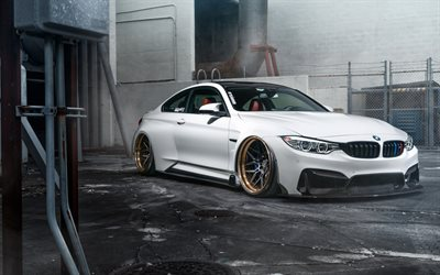 BMW M4, F82, 2019, white sports coupe, tuning M4, bronze wheels, new white M4 F82, German sports cars, BMW