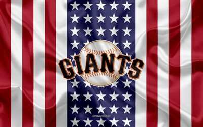 San Francisco Giants, 4k, logo, emblem, silk texture, American flag, American baseball club, MLB, San Francisco, California, USA, Major League Baseball, baseball, silk flag
