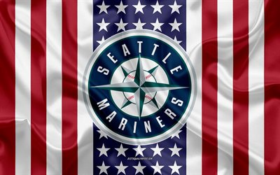 Seattle Mariners, 4k, logo, emblem, silk texture, American flag, American baseball club, MLB, Seattle, Washington, USA, Major League Baseball, baseball, silk flag