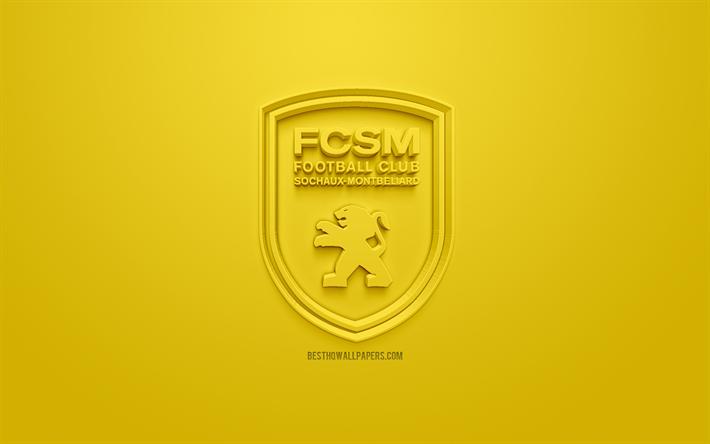 Descargar fondos de pantalla fc sochaux montbeliard creativo logo en 3d fondo amarillo 3d - Fc sochaux logo ...