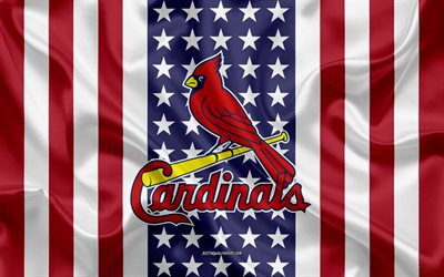 St Louis Cardinals, 4k, logo, emblem, silk texture, American flag, American baseball club, MLB, St Louis, Missouri, USA, Major League Baseball, baseball, silk flag