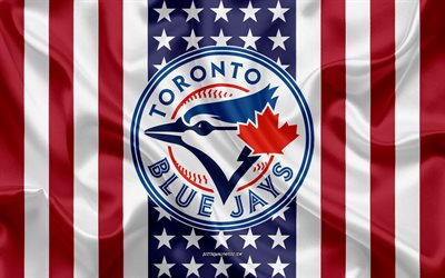 Toronto Blue Jays, 4k, logo, emblem, silk texture, American flag, Canadian baseball club, MLB, Toronto, Ontario, Canada, USA, Major League Baseball, baseball, silk flag