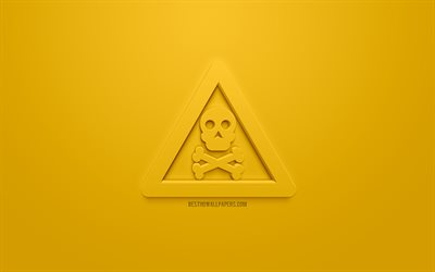 Toxic Warning 3d icon, yellow background, 3d symbols, Toxic Warning, creative 3d art, 3d icons, Toxic Warning sign, warning signs
