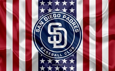 San Diego Padres, 4k, logo, emblem, silk texture, American flag, American baseball club, MLB, San Diego, California, USA, Major League Baseball, baseball, silk flag