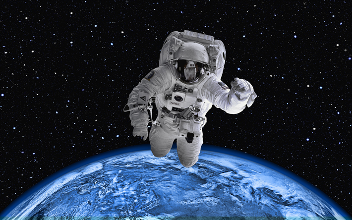Astronaut in space, 4k, Earth, orbit, galaxy, NASA, astronaut on orbit, Earth from space, astronaut