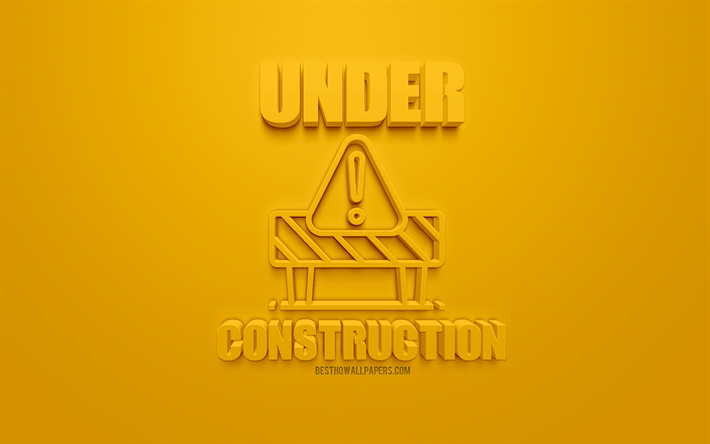 Download Wallpapers Under Construction 3d Icon Yellow