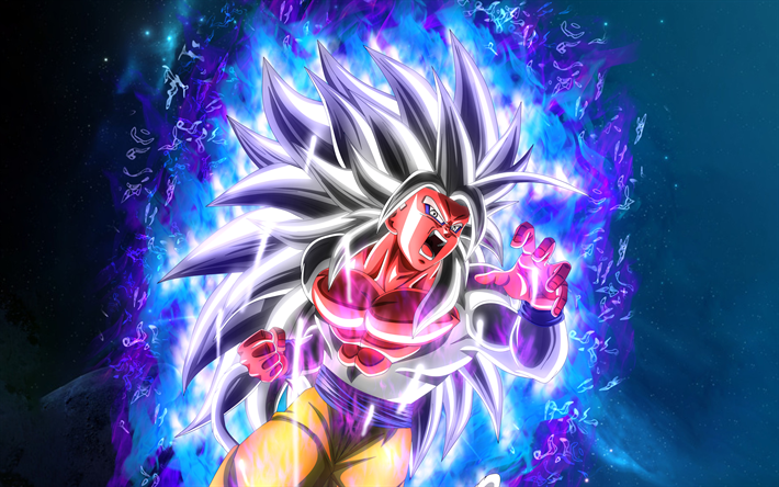 Ultra Instinct Goku, 4k, blue fire flames, DBS characters, Dragon Ball Super, angry goku, Super Saiyan God, Dragon Ball, Mastered Ultra Instinct, Migatte No Gokui