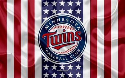 Minnesota Twins, 4k, logo, emblem, silk texture, American flag, American baseball club, MLB, Minneapolis, Minnesota, USA, Major League Baseball, baseball, silk flag