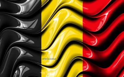 Belgian flag, 4k, Europe, national symbols, Flag of Belgium, 3D art, Belgium, European countries, Belgium 3D flag