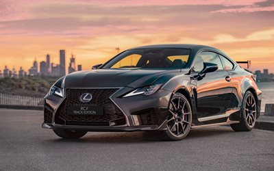Lexus RC F, Track Edition, 2019, black sports coupe, sunset, new black RC F, Japanese sports cars, Lexus