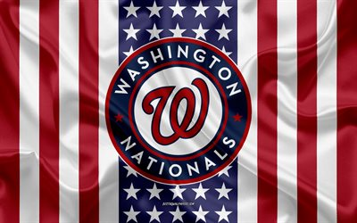 Washington Nationals, 4k, logo, emblem, silk texture, American flag, American baseball club, MLB, Washington, USA, Major League Baseball, baseball, silk flag