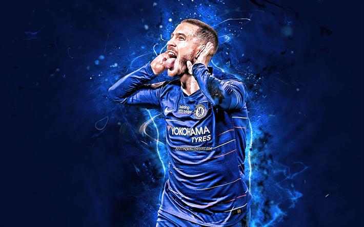 Download wallpapers Eden Hazard, goal, Chelsea FC, close-up