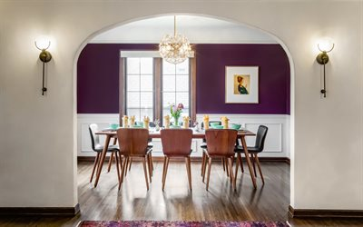dining room, stylish interior, modern interior design, purple walls, large table