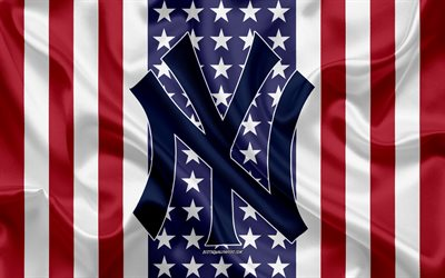 New York Yankees, 4k, logo, emblem, silk texture, American flag, American baseball club, MLB, New York, USA, Major League Baseball, baseball, silk flag