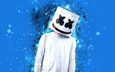 4k, DJ Marshmello, blue neon, american DJ, Christopher Comstock, creative, blue background, Marshmello DJ, superstars, fan art, Marshmello, DJs